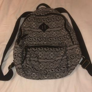 Black and white patterned backpack